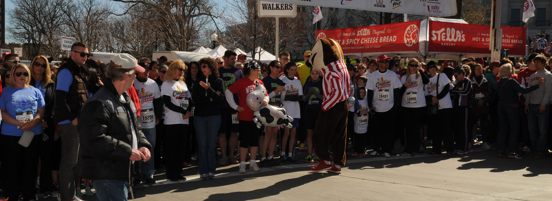 Start of the Race With Bucky Badger In The Center of the Photo