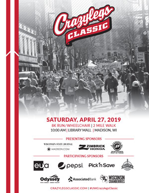 Crazylegs Classic 2019 Poster with Photos of Race Participants and Sponsors and Race Details